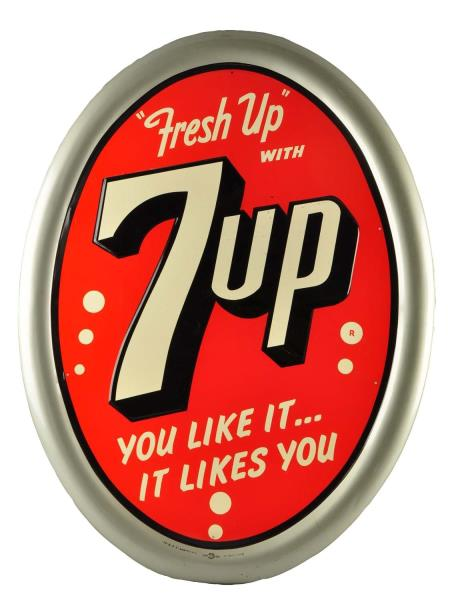 7Up Oval Self Framed Tin Sign. Circa 1950
