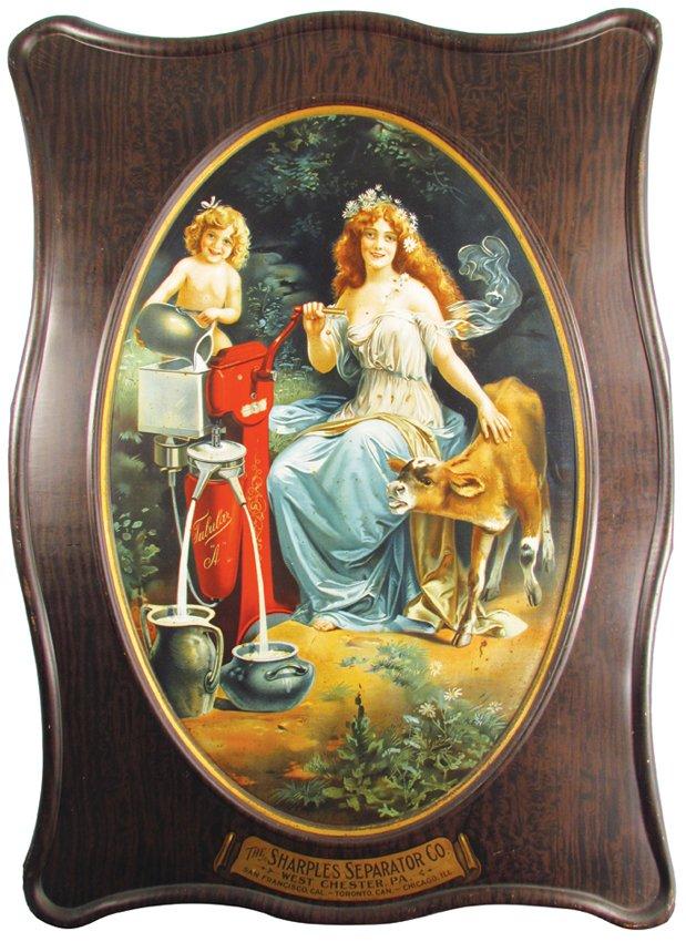 Sharples Cream Separator Self Framed Tin Sign, West Chester PA. Circa 1900