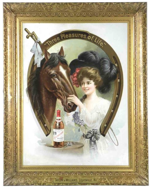 Taylor and Williams Self Framed Tin Whiskey Sign, Louisville, KY. Circa 1905