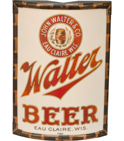 Walter Beer Vitrolite Corner Sign, Eau Claire, WI. Circa 1900