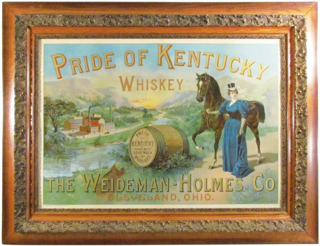 Weideman-Holmes Co., Pride of Kentucky Whiskey, Cleveland, OH. Gesso Framed Sign