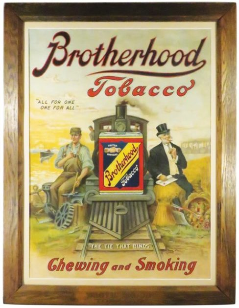 Brotherhood Tobacco Tin Sign, Lorillard Tobacco Co, Jersey City, N.J.