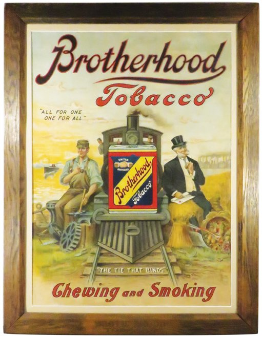 Brotherhood Tobacco Tin Sign, Lorillard Tobacco Co, Jersey City, N.J.
