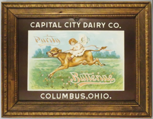 Capital City Dairy Co. embossed cardboard sign. Columbus, OH