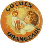 Drink Golden Orangeade Drink, Tin Sign.  J. Hungersford Smith Co., Jersey City, N. J.