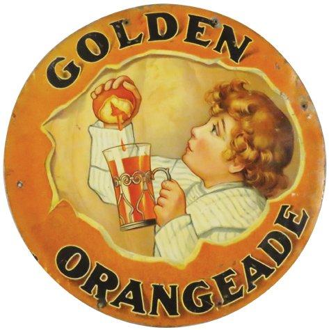 Golden Orangeade Tin Sign, Rochester, N.Y.