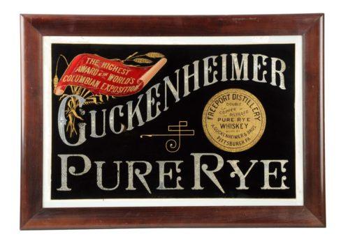 Guckenheimer Pure Rye Whiskey ROG Sign, Pittsburgh, PA. Circa 1900