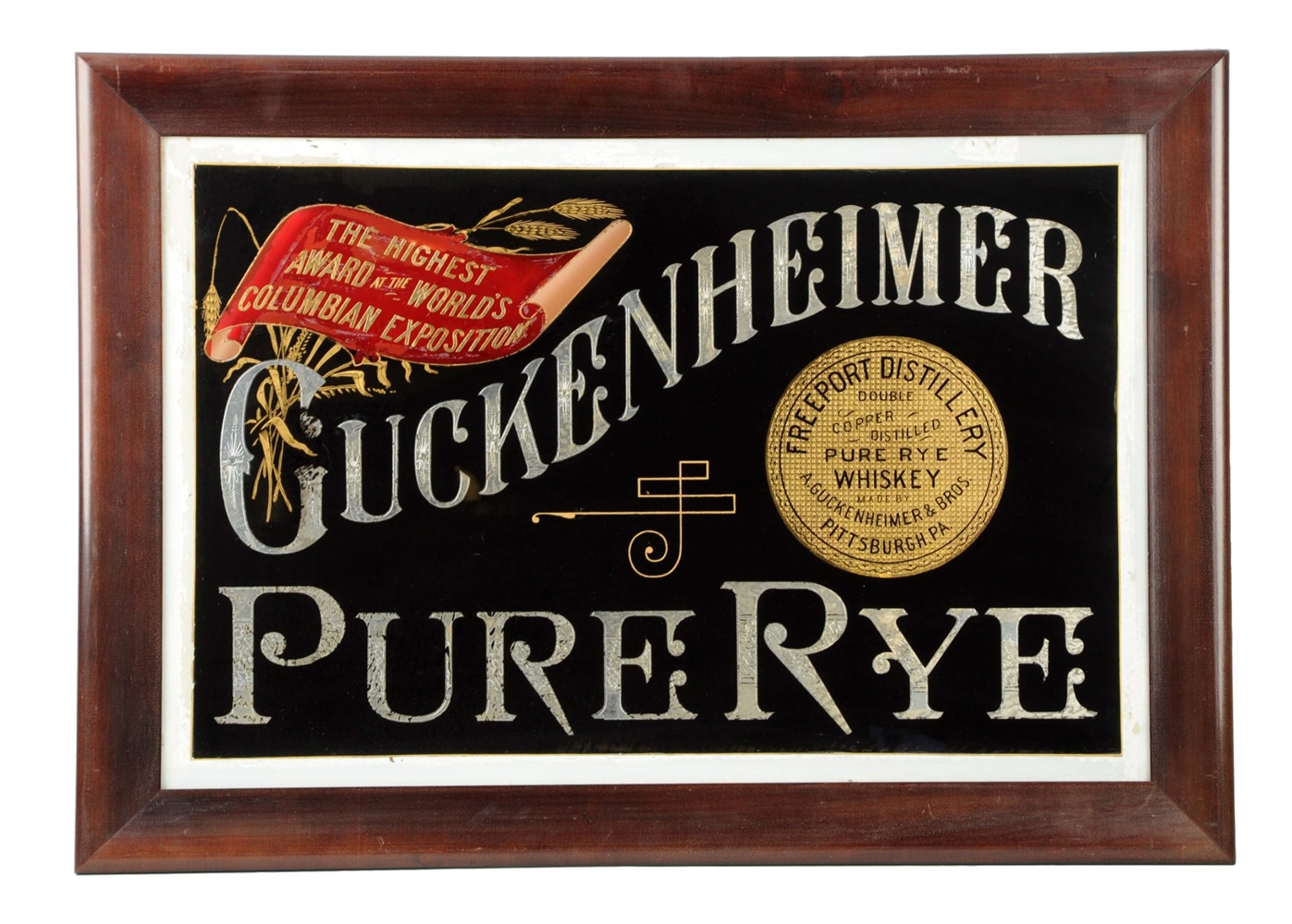 Guckenheimer Pure Rye Whiskey ROG Sign, Pittsburgh, PA. Circa 1900