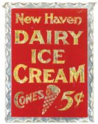 NEW HAVEN DAIRY ICE CREAM CONES 5 CENTS, REVERSE ON GLASS SIGN.  Circa 1920