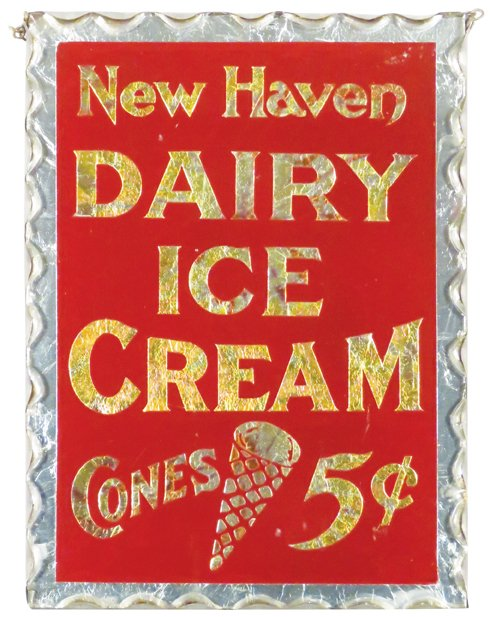 New Haven Ice Cream Cones 5 Cents, ROG Sign. Circa 1920