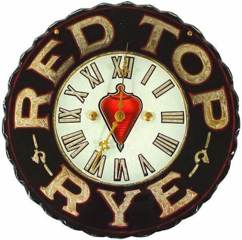 Red Top Rye Whiskey ROG Clock, Westheimer & Sons, Co. St. Joseph, MO. Circa 1900