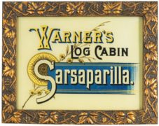 WARNER'S LOG CABIN SARSAPARILLA, REVERSE ON GLASS SIGN.  Circa 1895