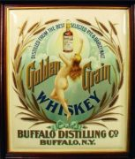 GOLDEN GRAIN WHISKEY TIN SIGN, BUFFALO DISTILLING CO., BUFFALO, N.Y.  Circa 1900