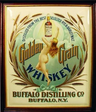 Buffalo Distilling Co., Buffalo, N.Y. Golden Grain Whiskey, Tin Sign. Circa 1900