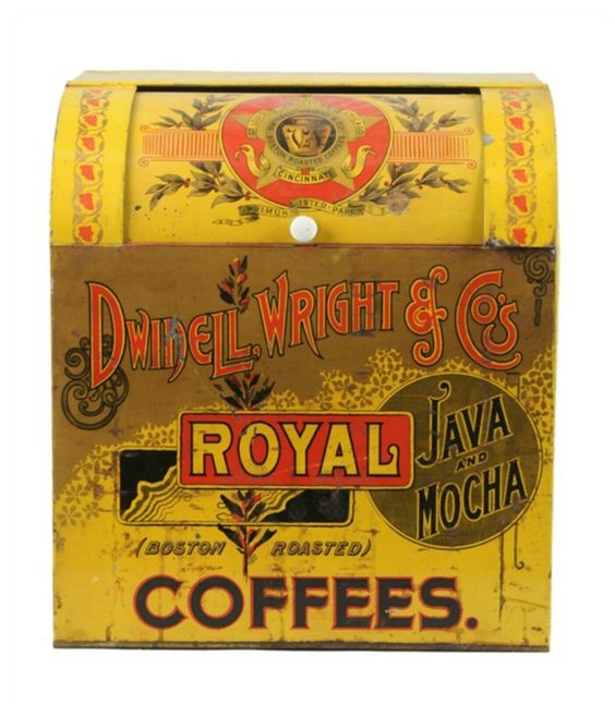 Dwinnel Wright Boston, MA, Chicago, IL. Roasted Royal Coffee Bin. Circa 1900