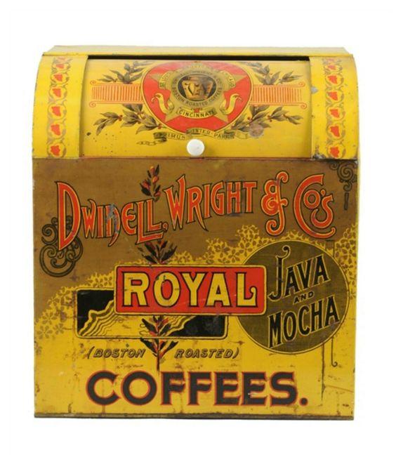 Dwinnel Wright Boston, MA, Chicago, IL. Roasted Royal Coffee Bin. Circa 1900