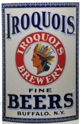 Iroquois Brewery, Buffalo, N.Y., Porcelain Corner Sign. Circa 1900