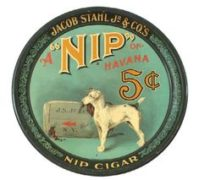 JACOB STAHL JR. TOBACCO CO., NIP OF HAVANA CIGAR TRAY.  Circa 1900