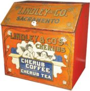 LINDLEY & CO., SACRAMENTO, CA.  METAL CHERUB COFFEE & TEA BIN.  Circa 1900