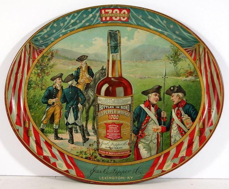 Jos. E. Pepper Distillery, Lexington, KY., Old Pepper Whiskey Serving Tray. Circa 1910
