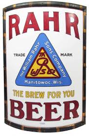 Rahr Brewing Co, Manitowoc, WI, Vitrolite Corner Sign. Circa 1915