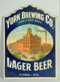 York Brewing Company, York, PA. Lager Beer Tin Corner Sign. Circa 1900