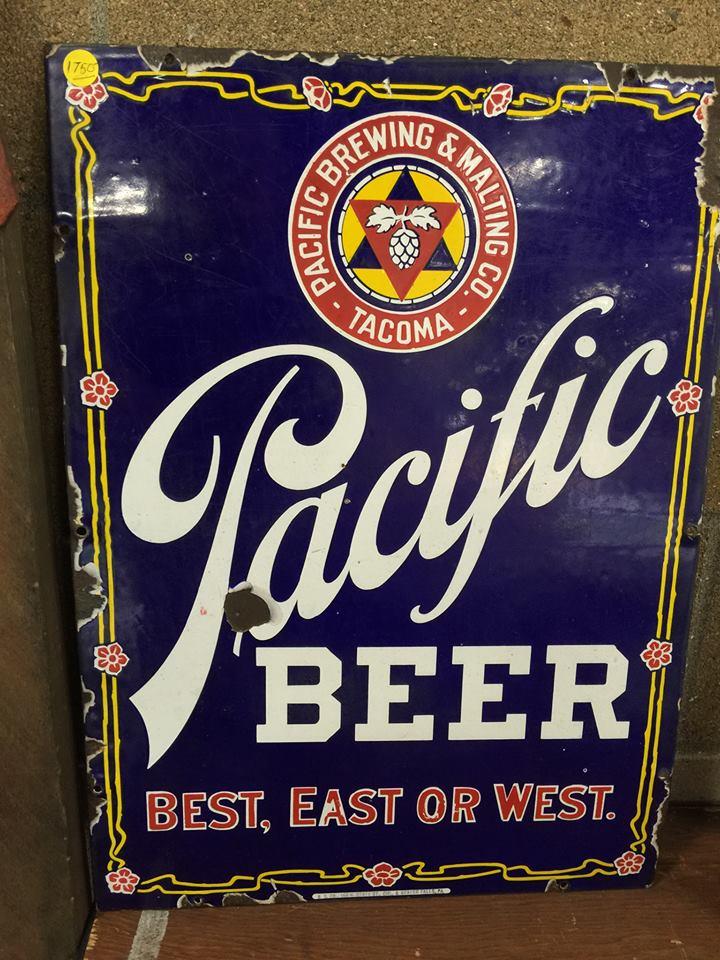 Pacific Brewing & Malting Co., Tacoma, WA Beer Porcelain Sign. Circa 1915