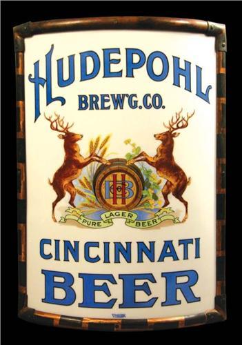 Hudepohl Brewery, Cincinnati, OH. Vitrolite Corner Sign. Circa 1910