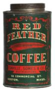 SAVILLE, SOMES & CO., BOSTON, MA.  RED FEATHER COFFEE CAN.  Circa 1900