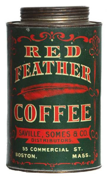 Saville, Somes & Co, Boston, MA. Red Feather Coffee Can