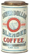 THOMSON & TAYLOR SPICE CO., CHICAGO, IL.  SILVER DOLLAR COFFEE CAN.  Circa 1900