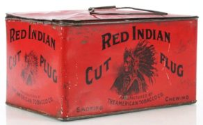 RED INDIAN CUT PLUG TOBACCO LUNCH BOX TIN, Circa 1900