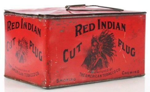 Red Indian Cut Plug Tobacco Lunch Box Tin