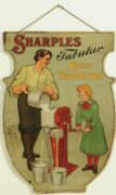 SHARPLES TUBULAR CREAM SEPARATOR HANGING TIN SIGN, Circa 1915