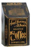 JOHN T. HANCOCK & SONS, ACME BLEND COFFEE BIN, DUBUQUE, IA.  Circa 1900