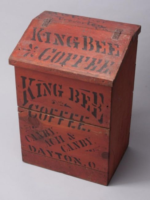 King Bee Coffee Wood Bin, Dayton, OH Wooden Bin. Circa 1900