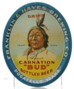"FRANKLIN & HAYES BREWING CO., CARNATION ""BUD"" BOTTLED BEER TRAY, POCATELLA, ID"