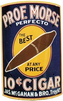Prof. Morse 10 Cent Cigar Corner Porcelain Sign