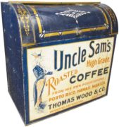 UNCLE SAM'S COFFEE, THOMAS WOOD & CO., BOSTON, MA. GENERAL STORE BIN.  Circa 1900