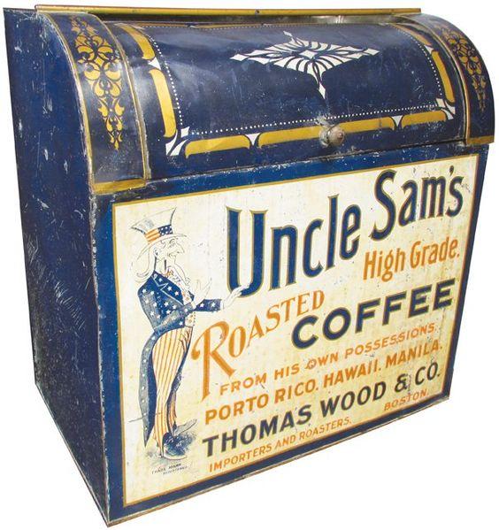 Uncle Sam Coffee, Thomas Wood Co. Boston Store Bin