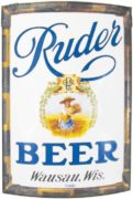 MATHIE-RUDER BREWERY, WAUSAU, WI.  VITROLITE GLASS CORNER SIGN.  Circa 1910