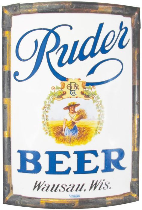Ruder Beer, Wausau, WI Vitrolite Glass Corner Sign. Circa 1910
