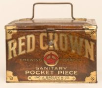 RED CROWN TOBACCO LUNCH BOX, JNO BAGLEY, DETROIT, MI.  Ca. 1915