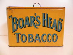 BOAR'S HEAD TOBACCO LUNCH BOX TIN, PRITCHARD & BURTON. Ca. 1910