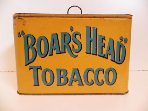 Boar's Head Tobacco Lunch Box Tin, Ca. 1910