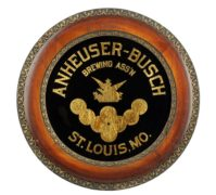 ANHEUSER-BUSCH BREWING ASSOCIATION, REVERSE ON GLASS WOOD FRAME SIGN, ST. LOUIS, MO. Ca. 1900