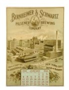 BERNHEIMER & SCHWARTZ PILSENER BREWING CO., NEW YORK CITY, N.Y. 1914 LITHO CALENDAR