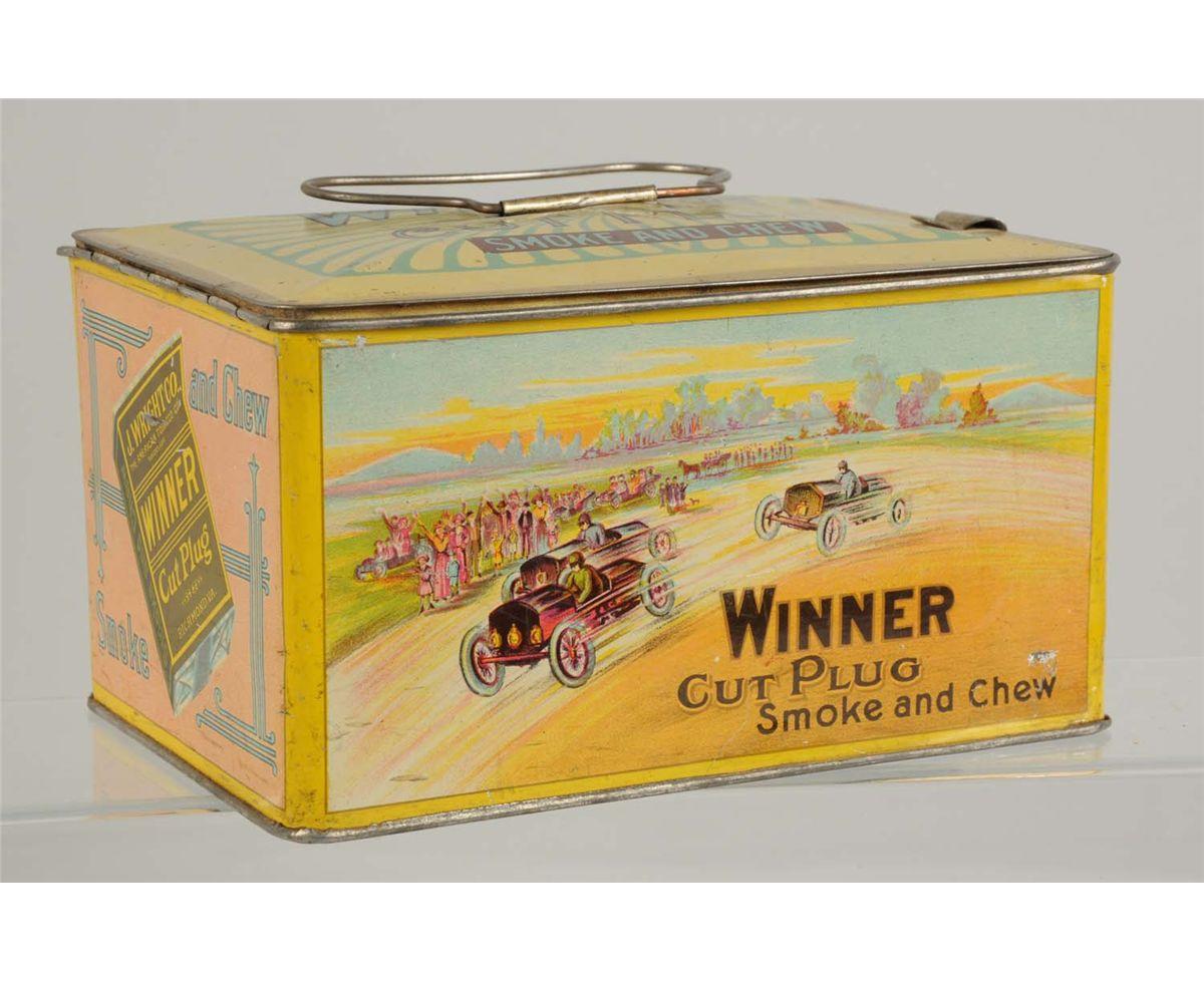 Winner Cut Plug Tobacco Lunch Box Tin, Ca. 1910