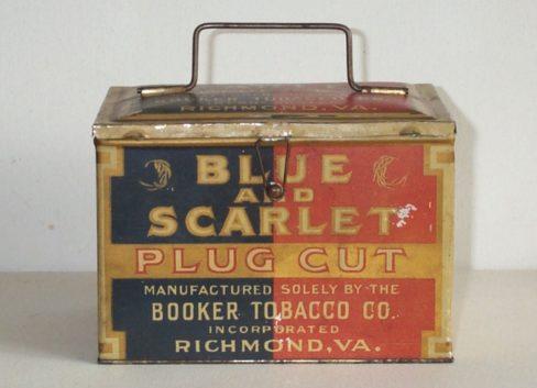 Blue and Scarlet Booker Tobacco Co., Richmond, VA. Lunch Box Tin. Ca. 1910