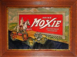 Moxie Soft Drink Tin Sign with Car, Circa 1933